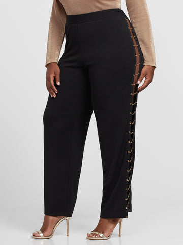 Annalie Chain Side Wide Leg Pants in Black