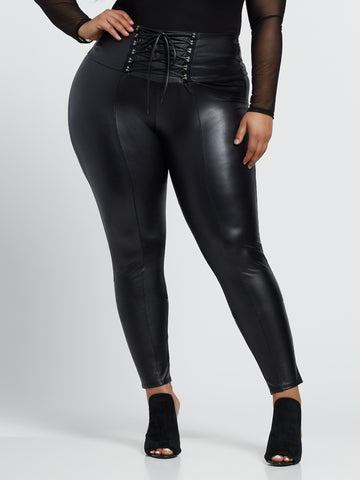 Cerisa Faux-Leather Lace-Up Pants in Black