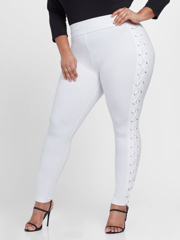 Good Form Lace-Up Waistband Ponte Leggings in White