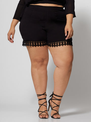 Gisela Lace Detail Shorts in Black
