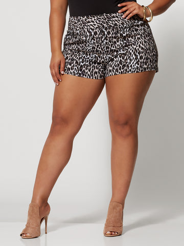 Signature - Leopard Print Millennium Short in White