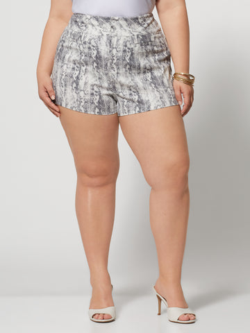 Signature - Snake Print Millennium Short in White