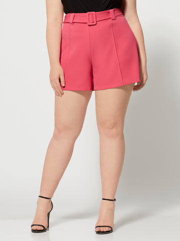 Isabel Covered Belt Shorts in Pink