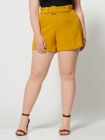 Isabel Covered Belt Shorts in Mustard Yellow