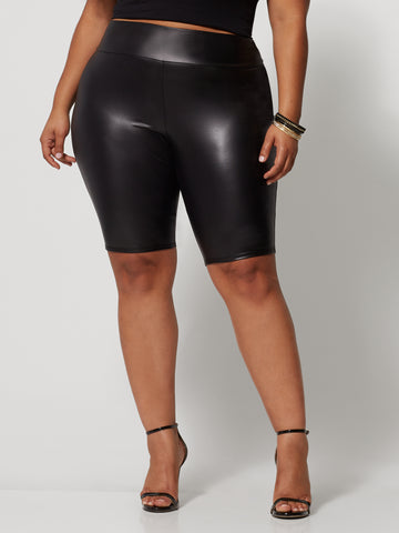 Winona Faux-Leather Bike Short in Black