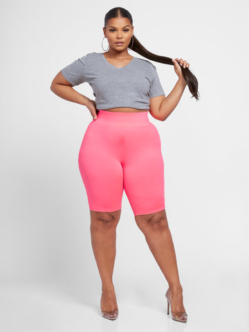 Pia Pink Yoga Bike Shorts in Pink