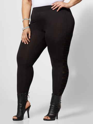 Portia Mesh Cut-Out Leggings in Black