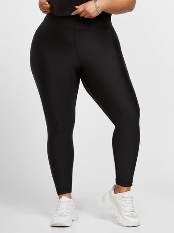 Kaya High Rise Shine Leggings in Black