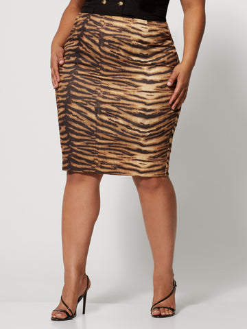 Anika Tiger Print Pencil Skirt in Brown