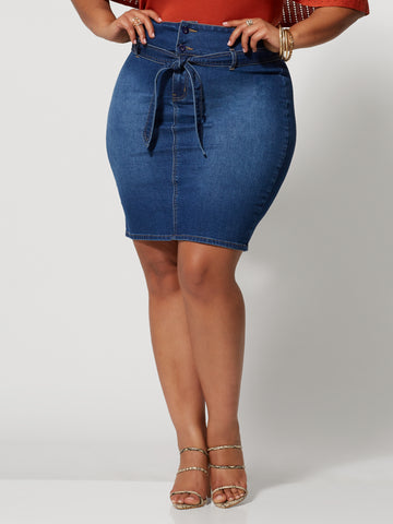 Alyona Paper Bag Skirt in Medium Blue
