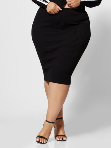 Olympia Lace-Up Sweater Skirt in Black