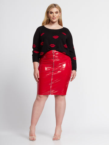 Billie Zip Vinyl Pencil Skirt in Red