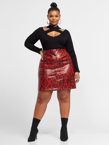 Yara Faux-Snake Pencil Skirt in Dark Red