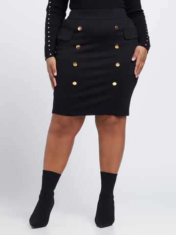 Clara Double Button Pencil Skirt in Black