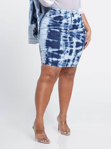 Meilani Tie Dye Skirt in Blue