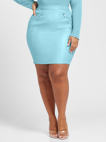 Alyssa Faux Leather Pencil Skirt in Light Blue