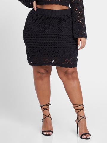 Kamilah Crochet Mini Skirt in Black