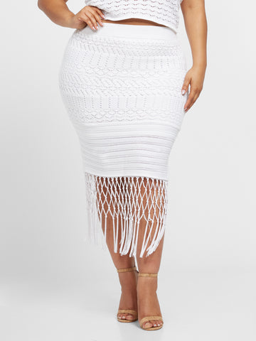 Karenza Crochet Skirt in White