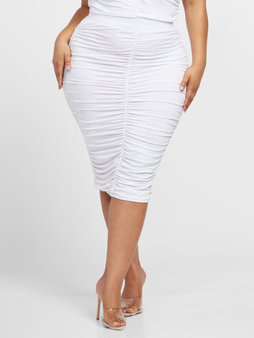 Chantel Pull-on Bodycon Skirt in White