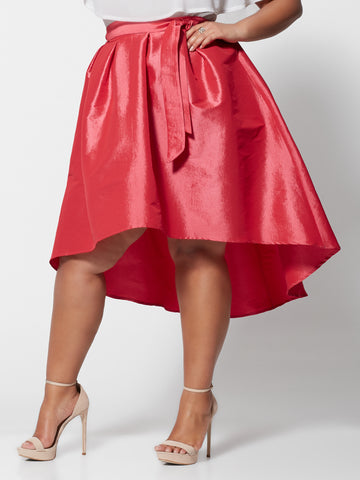 Jennie High-Low Taffeta Skirt in Coral