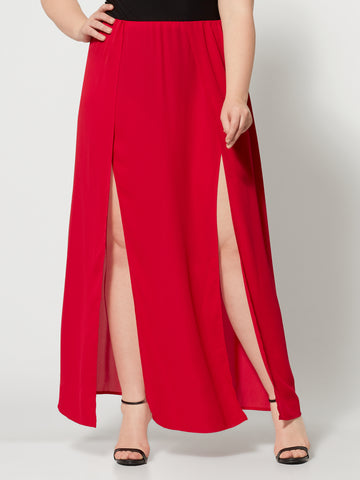 Haimi Red Double Slit Maxi Skirt in Red