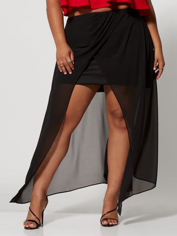 Sarea Hi-Lo Skirt in Black