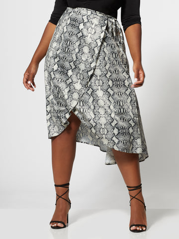 Aja Snake Wrap Skirt in White
