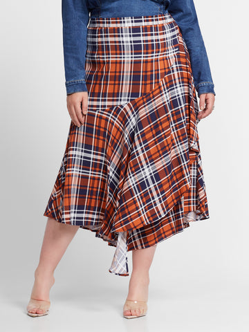 Tilly Plaid Ruffle Midi Skirt in Red