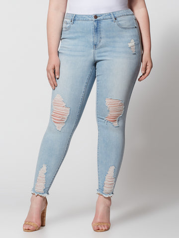 Mid-Rise Destructed Jeans - Regular Inseam in Light Wash