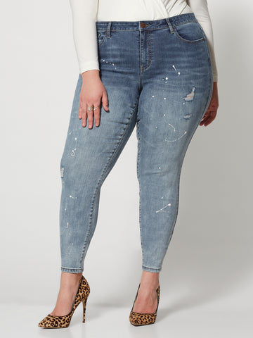 Mid-Rise Paint Splattered Skinny Jeans in Medium Blue Wash