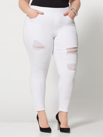 White High-Rise Jeggings in White
