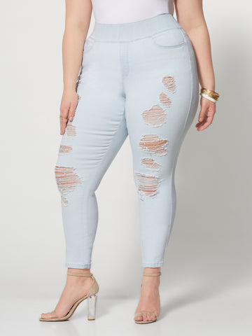 Light Wash High-Rise Jeggings in Light Wash
