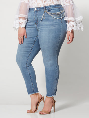Mid-Rise Pearl Chain Skinny Jeans in Light Wash