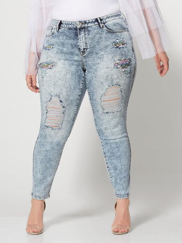 Mid-Rise Sequin Detail Skinny Jeans in Medium Blue Wash