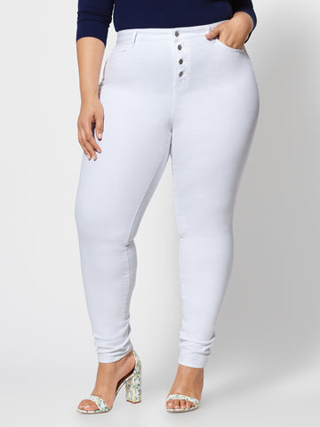 4 Button High-Rise Skinny Jeans - Short Inseam in White