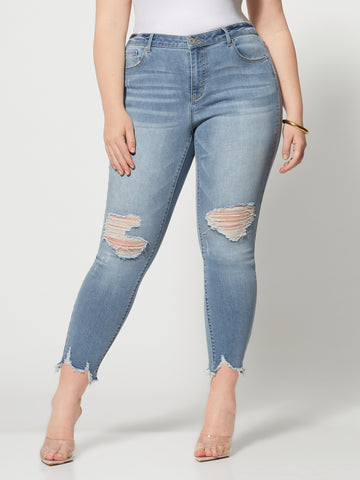 High-Rise Chewed Hem Skinny Jeans in Medium Blue Wash
