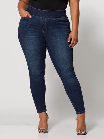 Dark Wash High-Rise Jeggings in Dark Blue Wash