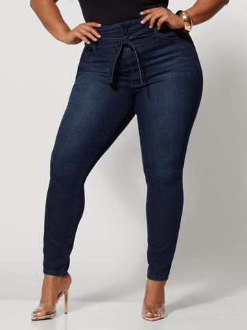Dark Wash High-Rise Tie Belt Jeans in Dark Wash Scs