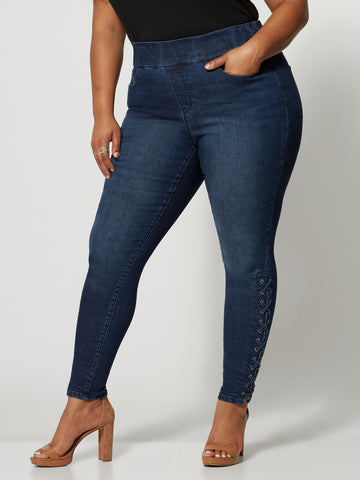Dark Wash High-Rise Lace-Up Jeggings in Dark Blue Wash