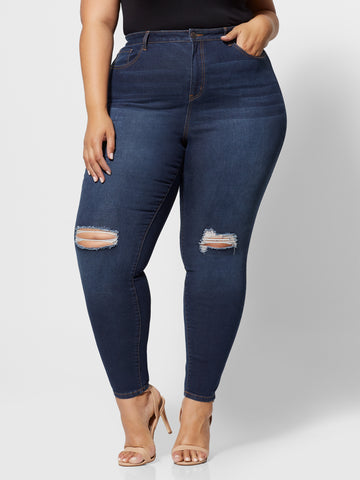 Dark Wash Sky High-Rise Skinny Jeans in Dark Blue Wash