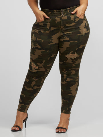 Camo High-Rise Skinny Jeans in Olive