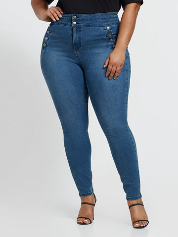 High-Rise Button Detail Skinny Jeans in Medium Indigo