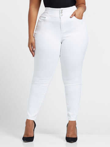 White High-Rise Triple Button Skinny Jeans in White