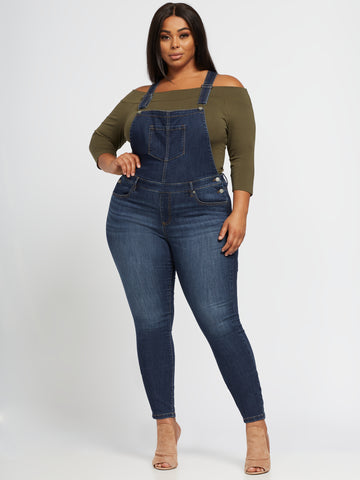 Dark Wash Overall Skinny Jeans in Blue Beth