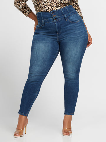 Ultra High-Rise Corset Skinny Jeans in Brilliant Blue Wash