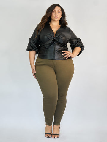 Olive High-Rise Jeggings in Olive