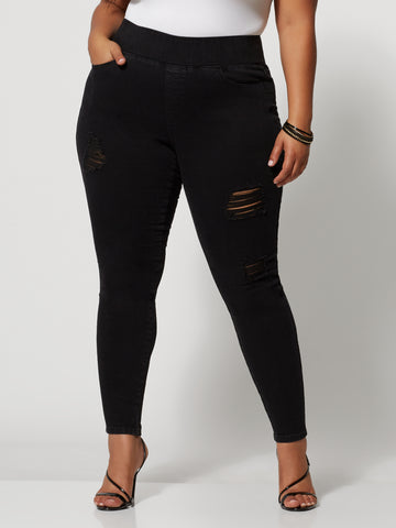 High-Rise Destructed Skinny Jeans - Short Inseam in Black