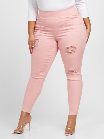 Light Pink High-Rise Jeggings in Light Pink