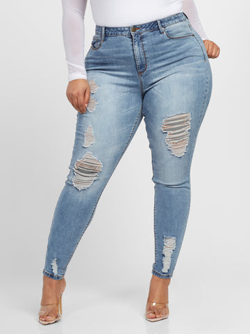 High-Rise Skinny Jeans - Short Inseam in Light Indigo