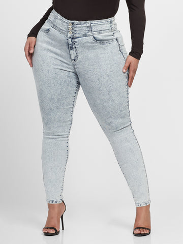 Ultra High-Rise Skinny Jeans - Short Inseam in Light Indigo